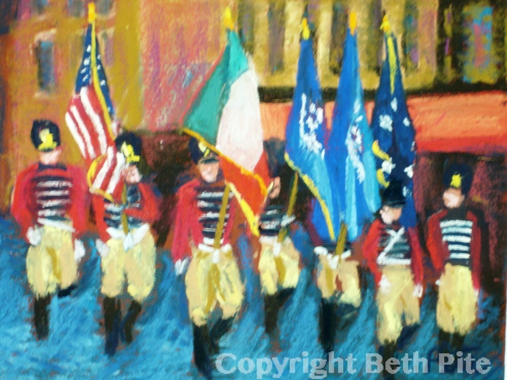"Governor's Foot Guard<div>Pastel on paper, 9"" x 12"" (14"" x 17"" matted and framed), $590. The lure of a parade – the drums, the pageantry, the color – is nearly irresistible for me.</div>"