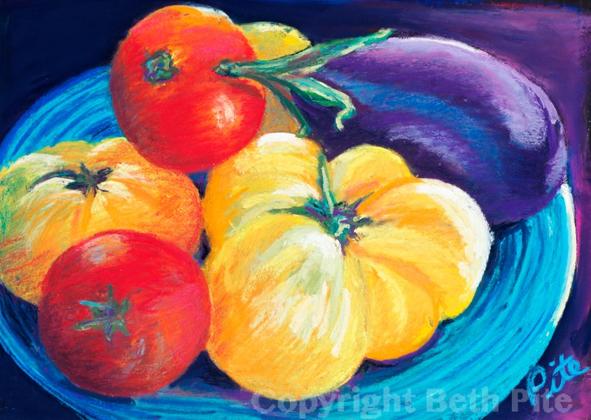 "Heirloom Tomatoes<div>Pastel on paper, 9"" x 13"" (13"" x17"" matted and framed), $490. These ""ugly"" tomatoes tasted so much better than the perfectly round supermarket imitations.</div>"