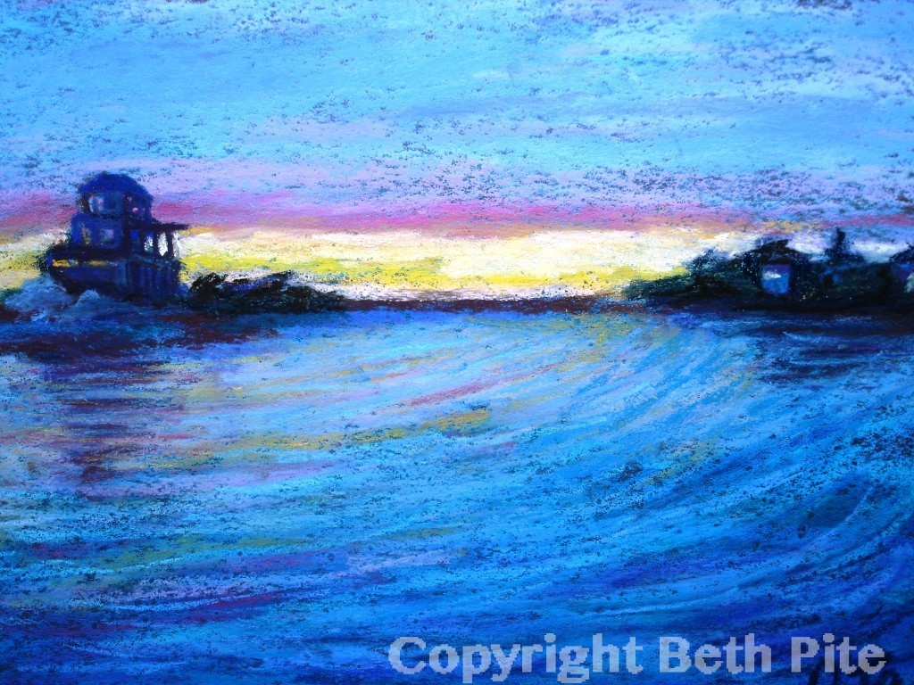 "Island Off Eastern Point<div>Pastel on paper, 9"" x 12"" (14"" x 17"" matted and framed), $590. A colorful sunset over an island sent its soothing energy out in ripples.</div>"