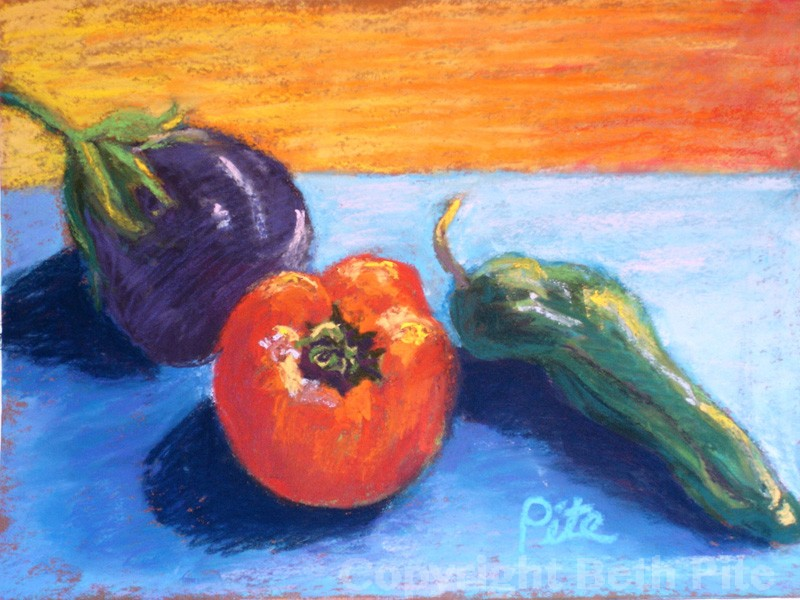 "Late Summer Bounty<div>Pastel on paper, 9"" x 12"" (14"" x 17"" matted and framed), $490. The last of the fresh veggies were absolutely delicious!</div>"