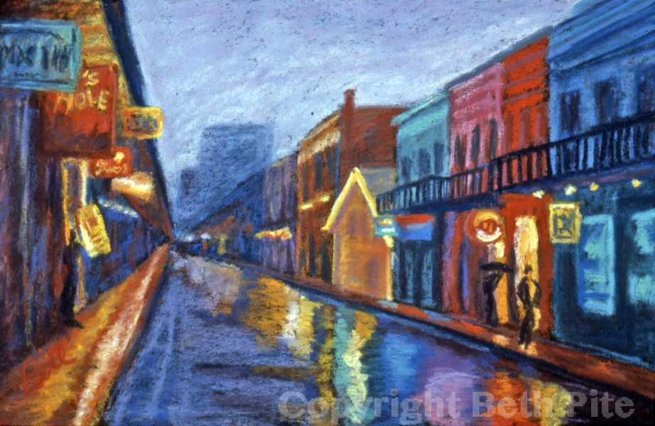 New Orleans Dusk<div>SOLD Neon reflecting on rain-streaked streets made the French Quarter look, if possible, even more colorful.</div>