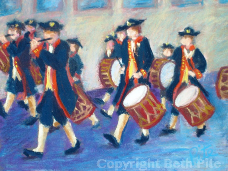 "Parade on Trumbull<div>Pastel on paper, 9"" x 12"" (14"" x 17"" matted and framed), $590. Parade drums always draw me outside and the colorful costumes keep me there.</div>"