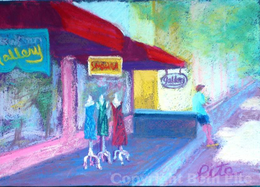 "Summer Shops<div>Pastel on paper, 7.5"" x 11.5"" (12"" x 16"" matted and framed), $490. Yes, he's outside checking his phone while she hits the boutiques!</div>"
