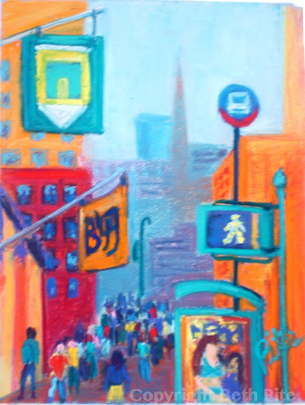 "Downtown Canyon<div>Pastel on paper,12"" x 9"", (18"" x 15"" matted and framed) $590. The energy of New York City always manages to charge me up, too.</div>"
