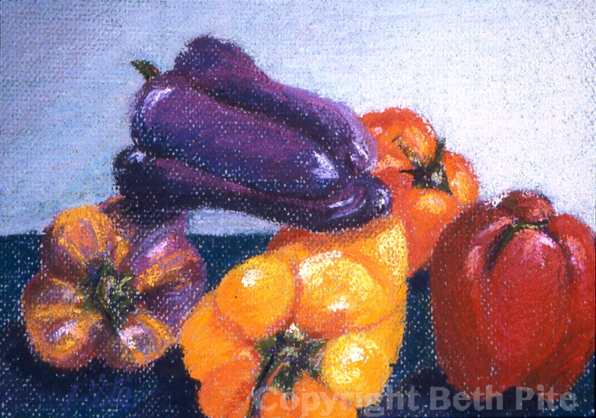 "Peppers IV<div>Pastel on paper, 8' x 11"" (13' x16' matted and framed), $490. My friend was pondering what to cook, while I was counting how many different colors of peppers were available!</div>"