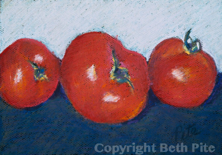 Tomatoes<div>SOLD, but signed, limited edition prints are available. A collector requested a private show, trying several paintings at home before buying this and two others.</div>