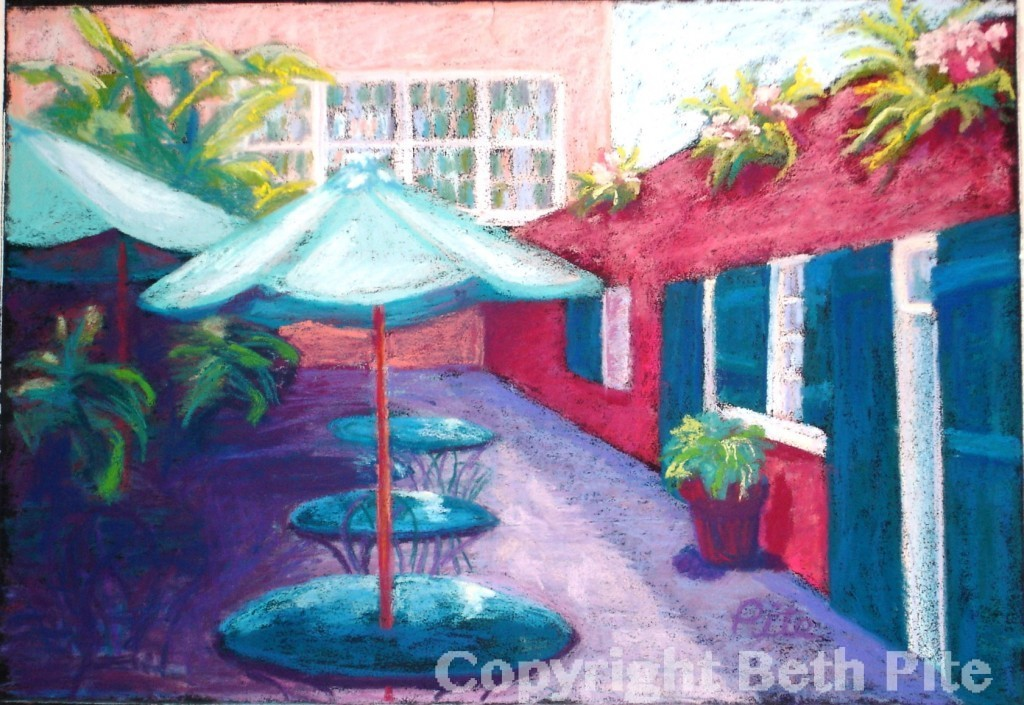 "New Orleans Cafe<div>Pastel on paper, 13 x 18"" (18 x 23""), $680. In my travels it seems that poking my head into a quiet courtyard always yields rewards. See this in person at Pamela Hirth in Woodbridge, CT.</div>"