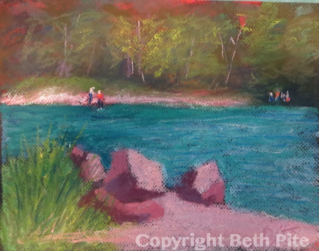 "Bluff Point Summer<div>Pastel on paper, 9 x 11"" (15″ x 17"" matted and framed), $590. This painting was started en plein air and finally finished in my studio months later.</div>"