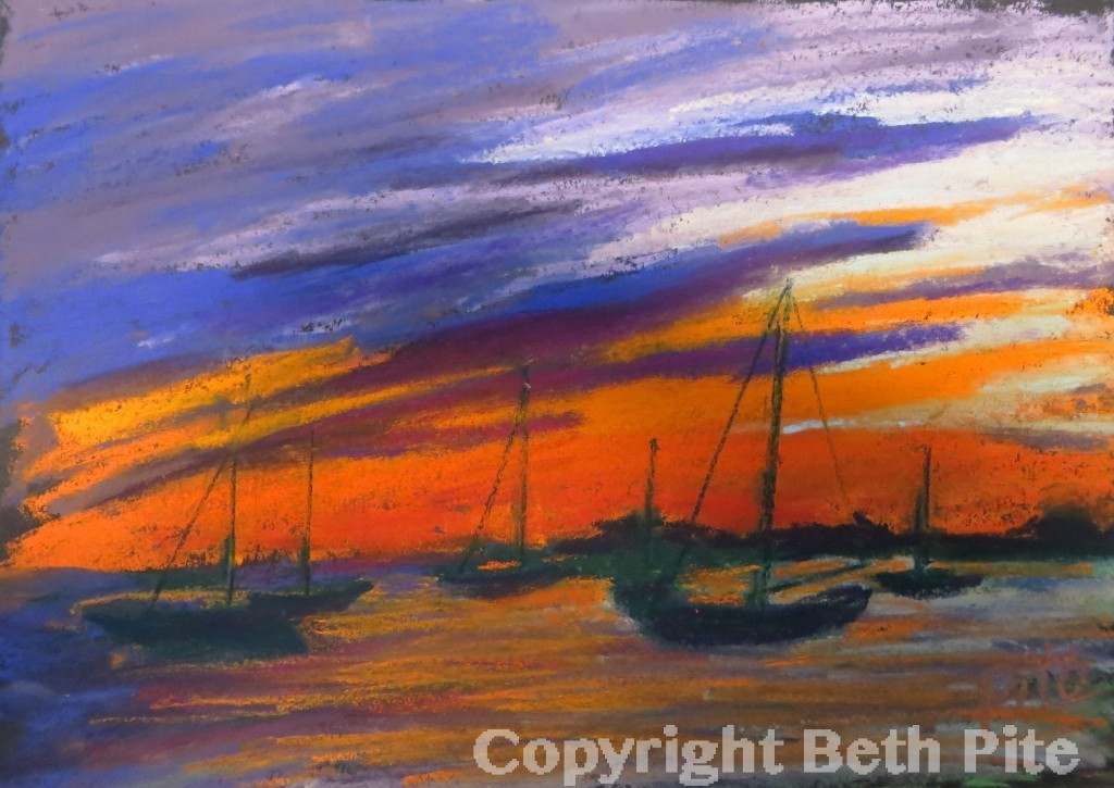 "Sailboats at Sunset<div>Pastel on paper, 9 x 11"" (15″ x 17"" matted and framed), $590. A view of our harbor and my recollection of a spectacular sunset. Available through Spectrum Gallery, Centerbrook, CT.</div>"