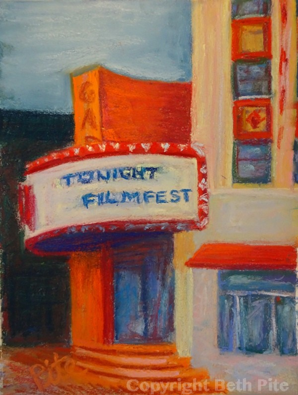"Filmfest<div>Pastel on paper, 12"" x 9"", $590. The Garde Arts Center's striking architecture contains a historic theater with a stunningly restored Moroccan-themed interior.</div>"