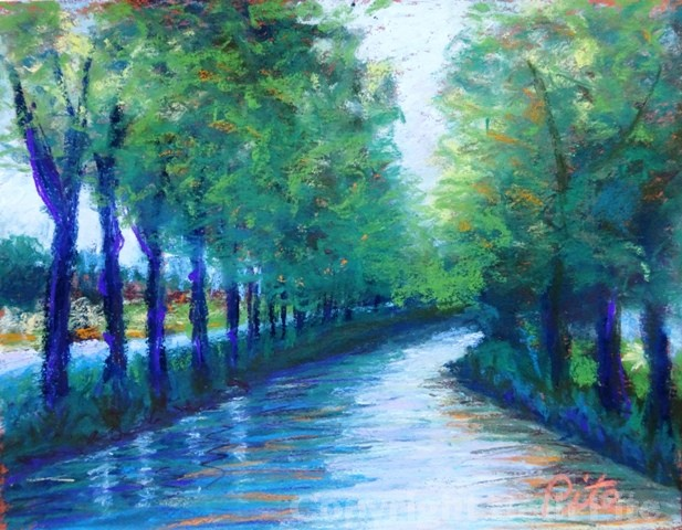 "Canal du Midi<div>SOLD My reference photo for this painting was the ""cover shot"" chosen by Soundings magazine for an article I co-authored about canal cruising in France.</div>"