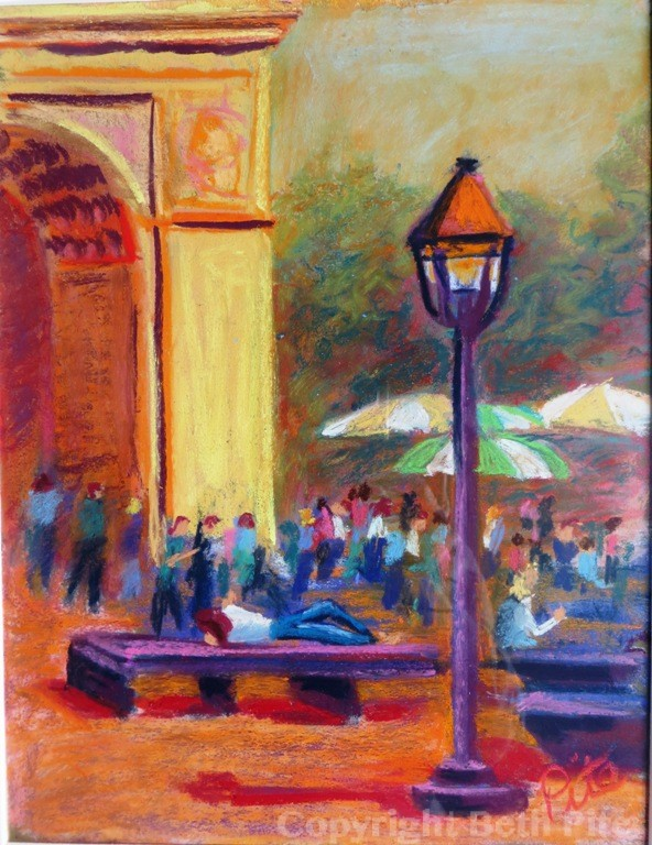 "Washington Square<div>Pastel on paper, 12 x 9"" (18 x 15"" matted and framed), $590. This park near NYU was filled with music, entertainers and optimistic sunbathers.</div>"