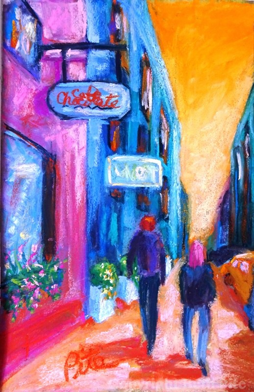 "Downtown Warmth<div>Pastel on paper, 12 x 7"" (18 x 15"" matted and framed), $590. I love wandering around the Village and Soho because they feel so inviting.</div>"