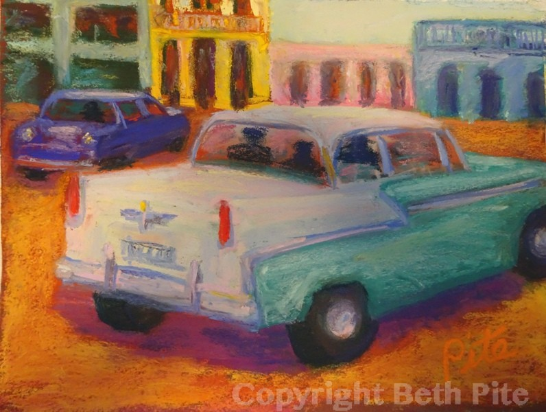 "Havana Along the Malecon<div>Pastel on paper, 9 x 12"" (15 x 18"" matted and framed), $590. I stood under the hot sun for way too long because I couldn't stop photographing the colorful cars driving by the colorful buildings.</div>"