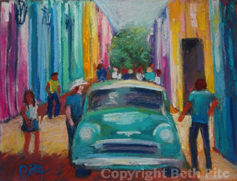 Havana Head On<div>SOLD The narrow streets filled with color, cars, sun, shadow and people were so intriguing.</div>