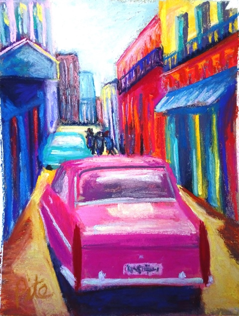 "Havana Alley<div>Pastel on paper, 9 x 12"" (15 x 18"" matted and framed), $590. Everywhere we turned in Old Havana, we feasted on color.</div>"