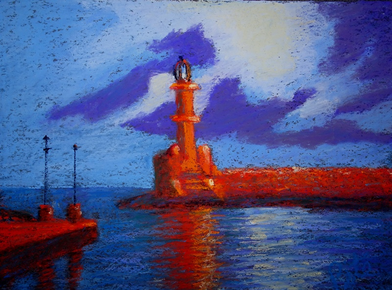 "Chania Lighthouse<div>Pastel on board, 10 x 14"" (16 x 20"" matted and framed), $590. Built by the invading Venetians, this lighthouse protected the harbor for centuries. See it at Arts Unique, in Avon, CT</div>"