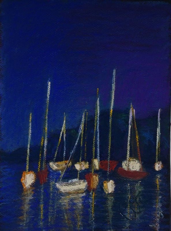 Last Light<div>SOLD. Sometimes I can't believe my luck - like glancing out the window to see boats and masts glowing for two minutes as the sun set over our harbor.</div>
