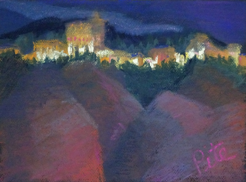 "Alhambra web<div>Pastel on paper, 12 x 9"" (14x17 matted and framed). $590. We were astonished when our search for food landed us in a tourist joint with a perfect view of the magnificent Alhambra as spotlights came on and sunset turned snow-capped mountains pink behind it. See it at Arts Unique, in Avon, CT</div>"