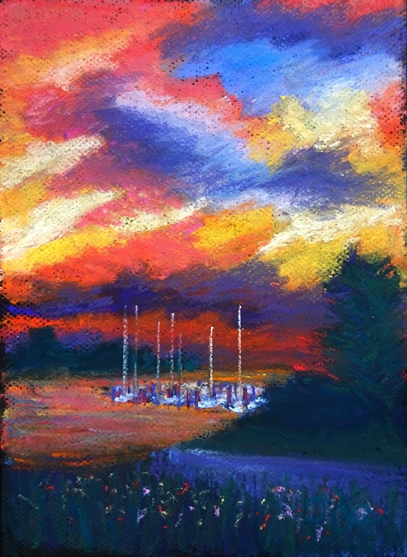 Harbor Sky<div>Pastel on paper, 11x8 (17x14 matted and framed), $590. Sunsets reflected in the harbor and glinting off sailboat masts are mesmerizing for me, and a frequent painting subject.</div>
