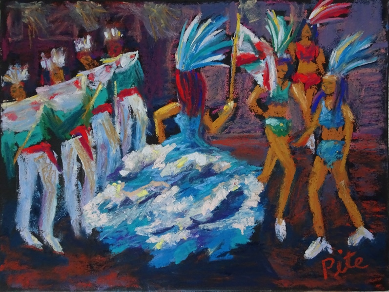 "Carnival Parade<div>Pastel on paper, 9 x 12"" (15x18 matted and framed), $590. I was entranced by the magic, music and movement of carnival in Montevideo, Uruguay.</div>"