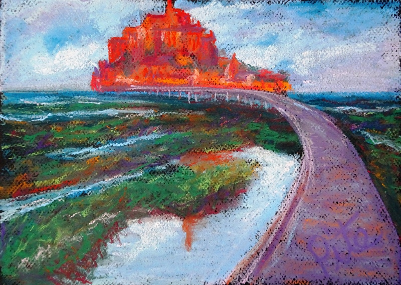 "Mont St. Michel<div>Pastel on paper, 9 x 12"", $590. Approachng the Mont and its cathedral across treacherous marshes and under threatening skies was awe-inspiring. See it at Arts Unique, in Avon, CT</div>"