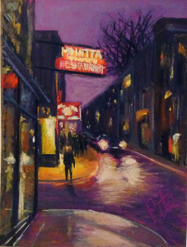 "Greenwich Village<div>Pastel on paper, 12 x 9"", $590. Exploring New York's storied bars has provided great experiences like Minetta Tavern, its neon sign most welcome on a drizzly night..</div>"