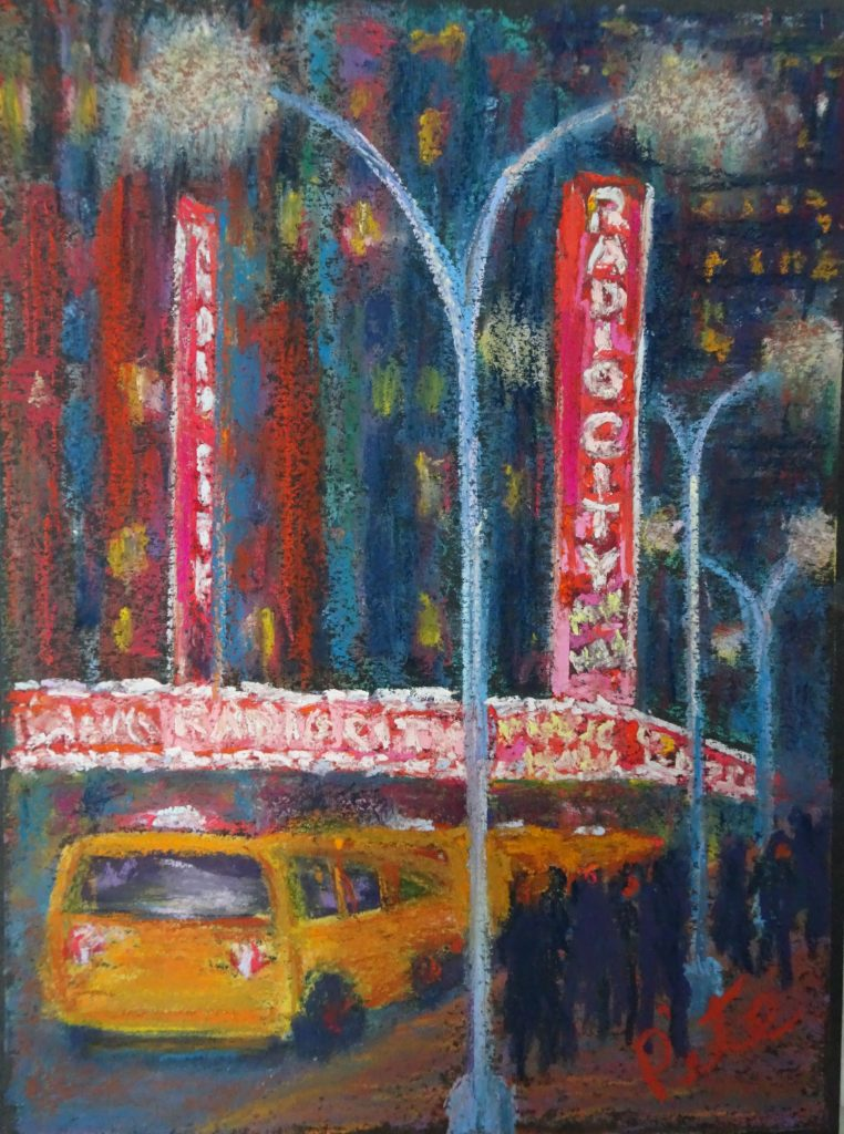 "Radio City<div>Pastel on paper, 12 x 9"", $590. The lights of the city dazzled as I came around the corner and encountered this iconic scene.</div>"